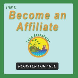 "Blue-green button next to EA101 logo showing sunlight nature with family, and words that say, ""Become an Affiliate"""