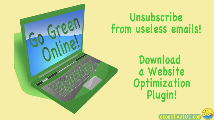 "A green computer with the words ""Go Green Online"" on the screen, and 2 green tips: Unsubscribe from useless emails and Download a website optimization plugin."