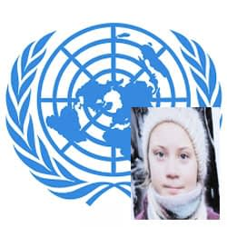 UN logo in blue with picture of Greta Thunberg to the right