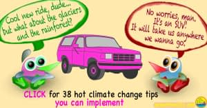 "2 cartoon characters stand next to a pink SUV. One says, ""I love your new ride, man! But what about the glaciers, and the rainforest?"" The other replies, ""No worries, man! It's an SUV! It'll take us anywhere we want to go!"" And the caption at the bottom says, ""Click for 38 hot climate change tips you can implement."""