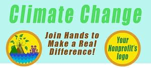 "Page header says ""Climate Change"" and shows the Eco Active 101 logo, a space for your logo, and the words, ""Join Hands to Make a Real Difference!"""