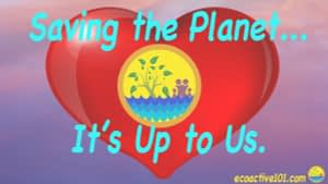 """Large red heart with Activist Family logo showing a tree, the ocean, and a family, with the words """"Saving the planet, it's up to us."""""""