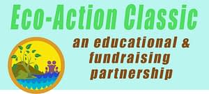 "Page header says ""Eco-Action Classic"" and shows a golden circle enclosing an image of mountains, ocean waves, a tree and a family against a sunny yellow background, next to the words, ""An educational and Fundraising Partnership."""