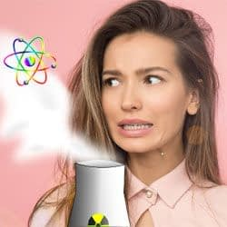 A young woman cringes at the sight of steam coming out of a nuclear reactor.