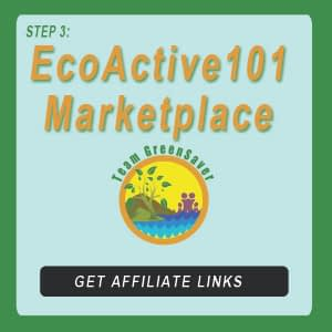 "Blue-green button next to EA101 logo showing sunlight nature with family, and words that say, ""EcoActive101 Marketplace"""