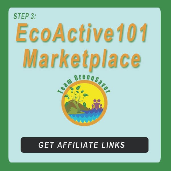 """Blue-green button next to EA101 logo showing sunlight nature with family, and words that say, """"EcoActive101 Marketplace"""""""