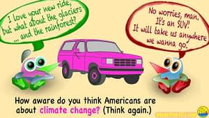 """2 cartoon characters stand next to a pink SUV. One says, """"I love your new ride, man! But what about the glaciers, and the rainforest?"""" The other replies, """"No worries, man! It's an SUV! It'll take us anywhere we want to go!"""" And the caption at the bottom asks, """"How aware do you think Americans are about climate change? Think again."""""""