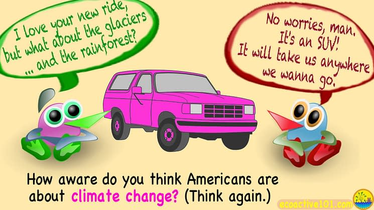 "2 cartoon characters stand next to a pink SUV. One says, ""I love your new ride, man! But what about the glaciers, and the rainforest?"" The other replies, ""No worries, man! It's an SUV! It'll take us anywhere we want to go!"" And the caption at the bottom asks, ""How aware do you think Americans are about climate change? Think again."""