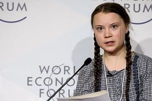 Greta Thunberg speaks at World Economic Forum, Davos, Switzerland, Jan. 2019