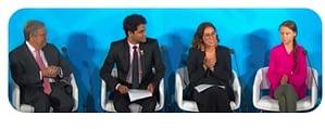 UN Climate Summit Intro - UN Secretary General Guterres, Brazil's Paloma Costa, Indian-born Anurag Saha Roy, and Sweden's Greta Thunberg seated for presentations