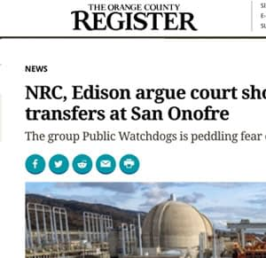 Orange County Register Headline (partial view) mentions NRC, Edison and San Onofre with picture of nuclear plant next to ocean