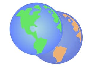 A green earth with a dying earth behind it.