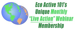 """On the left, a green earth with a dying earth behind it, and on the right are the words, """"Eco Active 101 Live Action Webinar Series."""""""